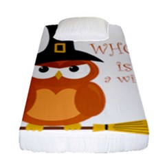 Halloween Orange Witch Owl Fitted Sheet (single Size)