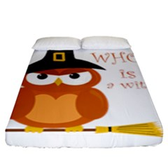 Halloween Orange Witch Owl Fitted Sheet (king Size)
