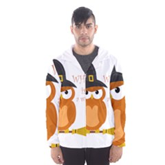 Halloween Orange Witch Owl Hooded Wind Breaker (men)