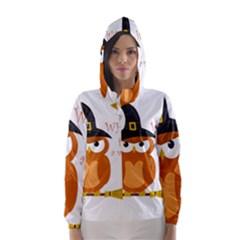 Halloween Orange Witch Owl Hooded Wind Breaker (women)