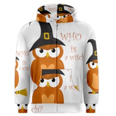 Halloween Orange Witch Owl Men s Zipper Hoodie