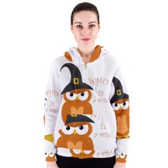 Halloween Orange Witch Owl Women s Zipper Hoodie