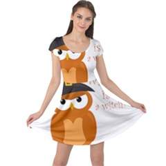 Halloween Orange Witch Owl Cap Sleeve Dress