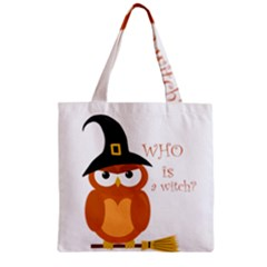 Halloween Orange Witch Owl Zipper Grocery Tote Bag