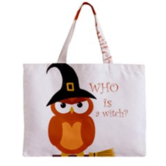 Halloween Orange Witch Owl Zipper Mini Tote Bag