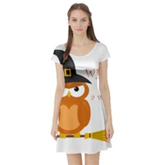 Halloween Orange Witch Owl Short Sleeve Skater Dress