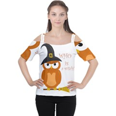 Halloween Orange Witch Owl Cutout Shoulder Tee