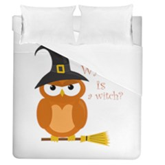 Halloween Orange Witch Owl Duvet Cover (queen Size)