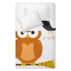 Halloween Orange Witch Owl Duvet Cover Double Side (single Size)