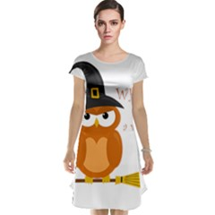 Halloween Orange Witch Owl Cap Sleeve Nightdress