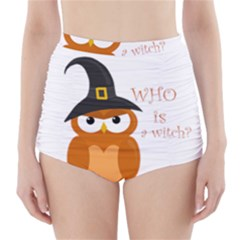 Halloween Orange Witch Owl High Waisted Bikini Bottoms