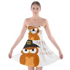 Halloween Orange Witch Owl Strapless Bra Top Dress