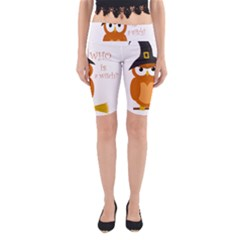 Halloween Orange Witch Owl Yoga Cropped Leggings