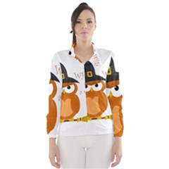 Halloween Orange Witch Owl Wind Breaker (women)