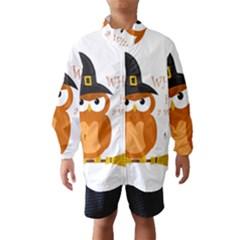 Halloween Orange Witch Owl Wind Breaker (kids)