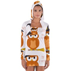 Halloween Orange Witch Owl Long Sleeve Hooded T Shirt