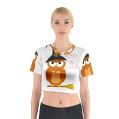 Halloween Orange Witch Owl Cotton Crop Top