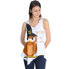Halloween Orange Witch Owl Sleeveless Tunic