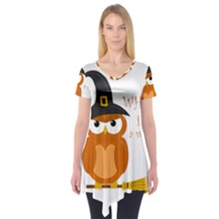 Halloween Orange Witch Owl Short Sleeve Tunic