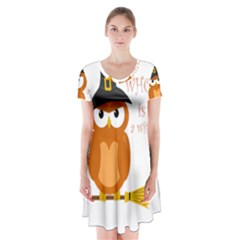 Halloween Orange Witch Owl Short Sleeve V Neck Flare Dress