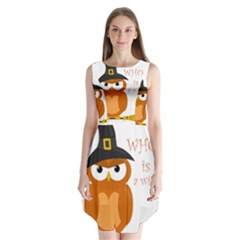 Halloween Orange Witch Owl Sleeveless Chiffon Dress