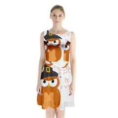 Halloween Orange Witch Owl Sleeveless Waist Tie Chiffon Dress