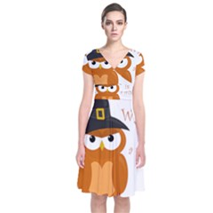 Halloween Orange Witch Owl Short Sleeve Front Wrap Dress
