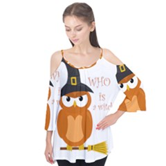 Halloween Orange Witch Owl Flutter Tees