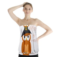 Halloween Orange Witch Owl Strapless Top