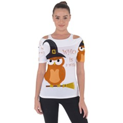 Halloween Orange Witch Owl Short Sleeve Top