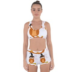 Halloween Orange Witch Owl Racerback Boyleg Bikini Set