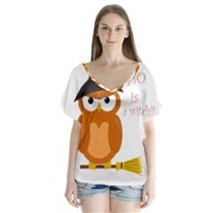 Halloween Orange Witch Owl V Neck Flutter Sleeve Top