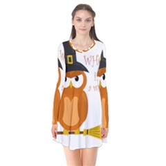 Halloween Orange Witch Owl Flare Dress