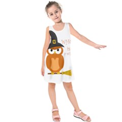 Halloween Orange Witch Owl Kids  Sleeveless Dress