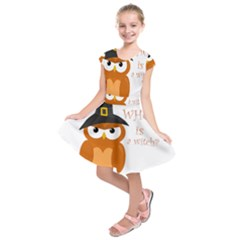 Halloween Orange Witch Owl Kids  Short Sleeve Dress