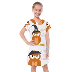 Halloween Orange Witch Owl Kids  Drop Waist Dress