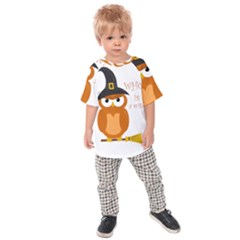 Halloween Orange Witch Owl Kids Raglan Tee