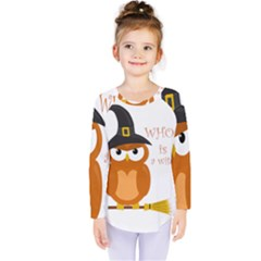 Halloween Orange Witch Owl Kids  Long Sleeve Tee