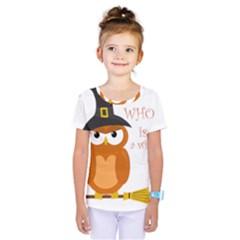 Halloween Orange Witch Owl Kids  One Piece Tee