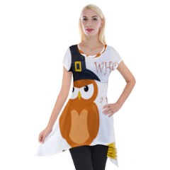 Halloween Orange Witch Owl Short Sleeve Side Drop Tunic
