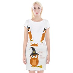 Halloween Orange Witch Owl Braces Suspender Skirt