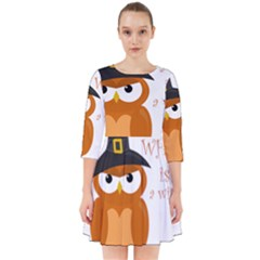 Halloween Orange Witch Owl Smock Dress
