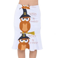 Halloween Orange Witch Owl Mermaid Skirt