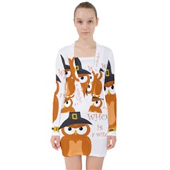 Halloween Orange Witch Owl V Neck Bodycon Long Sleeve Dress