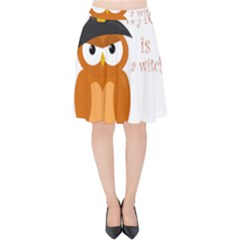 Halloween Orange Witch Owl Velvet High Waist Skirt