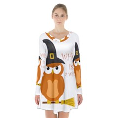 Halloween Orange Witch Owl Long Sleeve Velvet V Neck Dress
