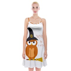 Halloween Orange Witch Owl Spaghetti Strap Velvet Dress
