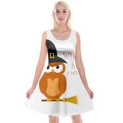 Halloween Orange Witch Owl Reversible Velvet Sleeveless Dress
