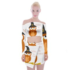 Halloween Orange Witch Owl Off Shoulder Top With Skirt Set