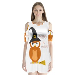 Halloween Orange Witch Owl Shoulder Cutout Velvet  One Piece